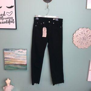 Rag & Bone Black Frayed Crop Jeans 27 G2
